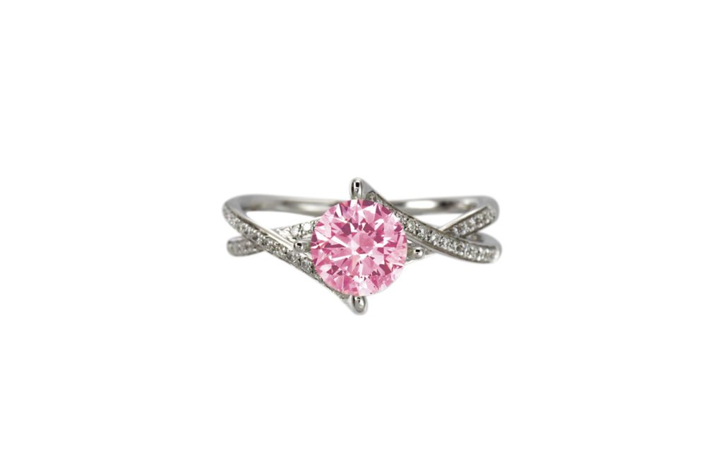 Pink diamonds engagement rings sample in a white gold split band