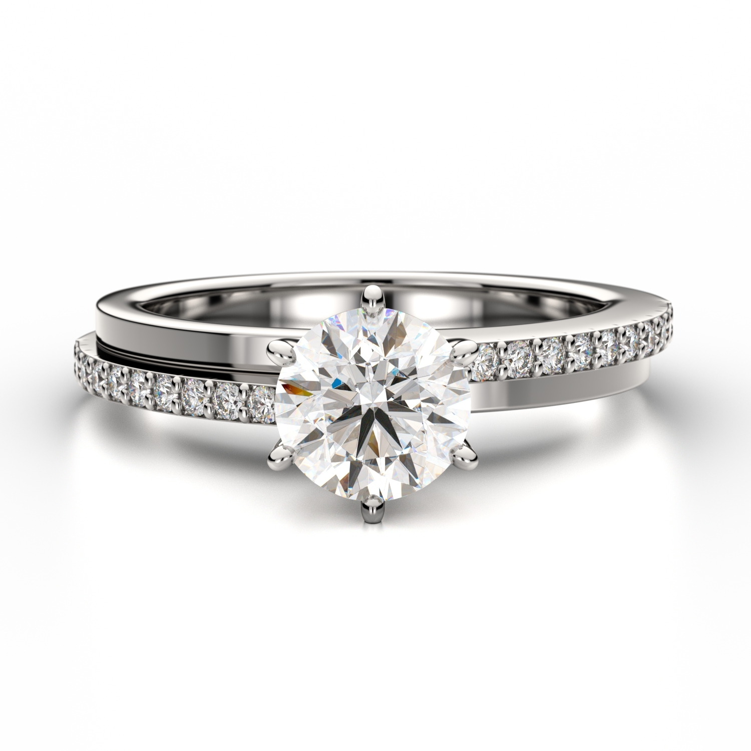 Engagement Rings Newcastle: Round Diamond Ring With Asymmetric Sidestones