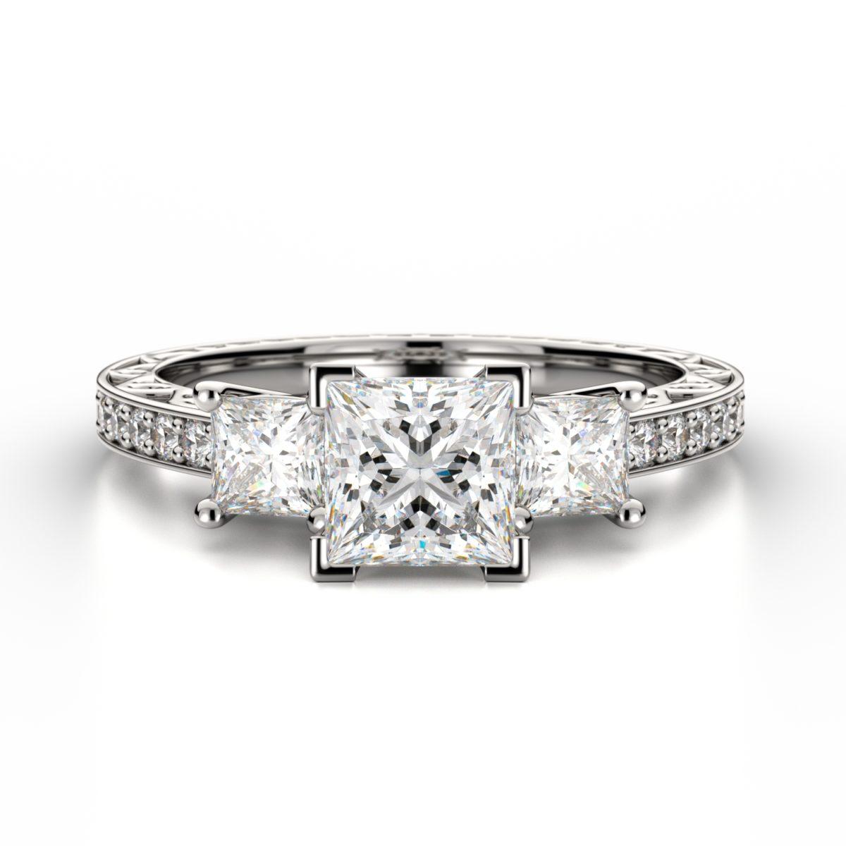 Engagement Rings Newcastle: Three Diamond Princess Ring With Sidestones