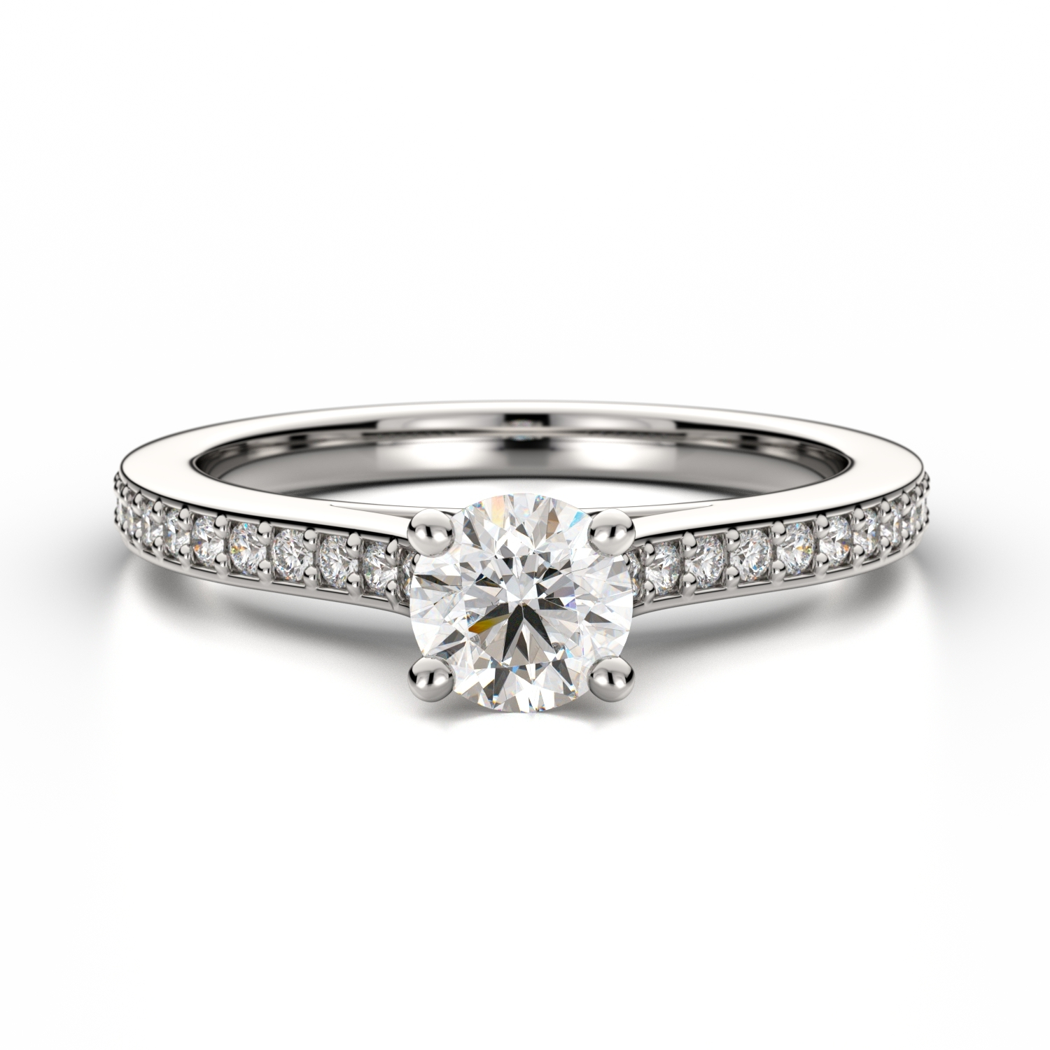 Engagement Rings Newcastle: Round Diamond Ring With Sidestones
