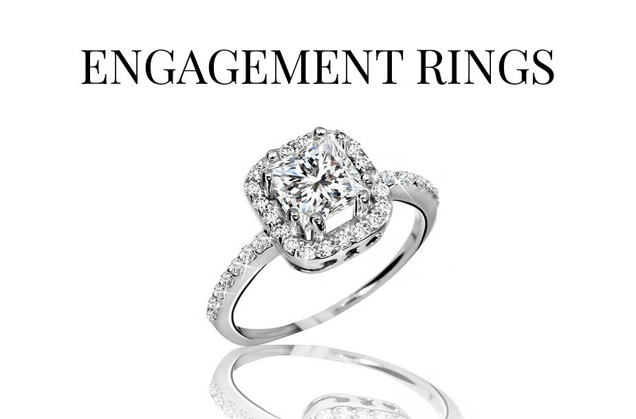a rounded square halo engagement ring