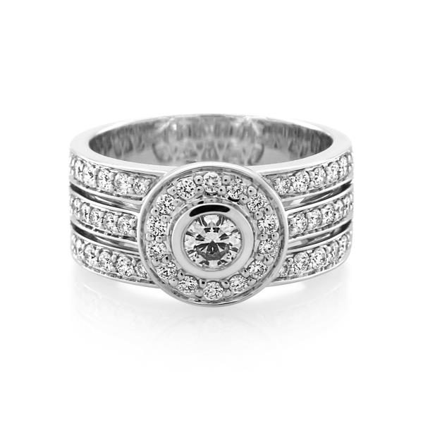 18CT White Gold 0.75ct Diamond Ladies Ring - Monty Adams
