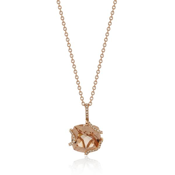 18CT Rose Gold 0.28ct Diamond & Morganite Necklace - Monty Adams