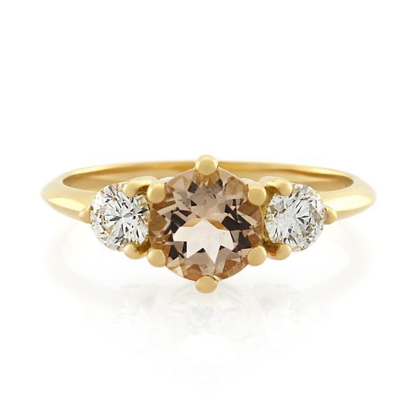 18CT Yellow Gold 0.40ct Diamond & Morganite Ladies Ring - Monty Adams