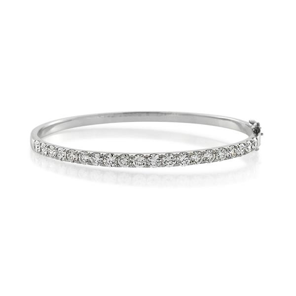 White gold diamond bangle designed in white background