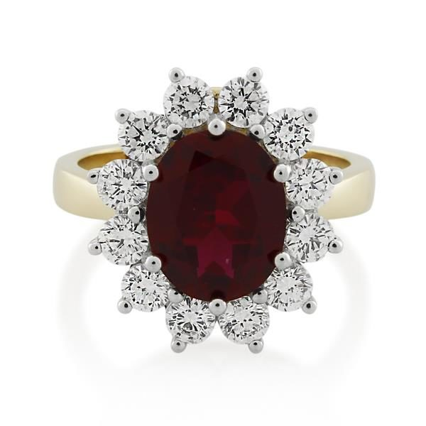 9CT Yellow Gold 1.20ct Diamond & Created Ruby Ladies Ring - Monty Adams