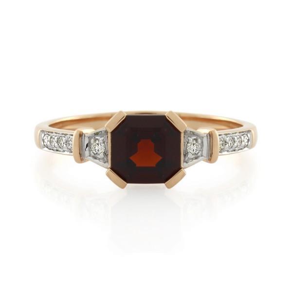 9CT Rose Gold Diamond & Garnet Ladies Ring - Monty Adams
