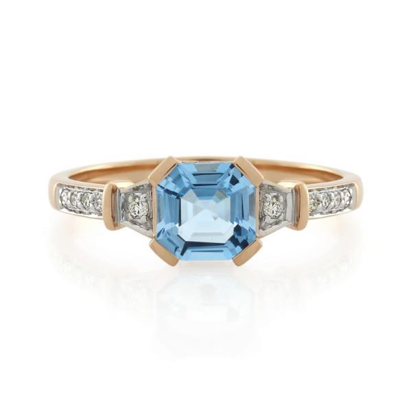 9CT Rose Gold Diamond & Blue Topaz Ladies Ring - Monty Adams