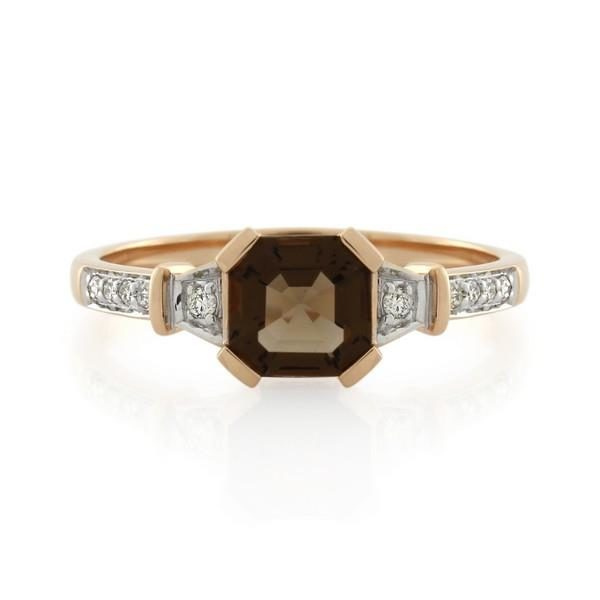 9CT Rose Gold Diamond & Smoky Quartz Ladies Ring - Monty Adams