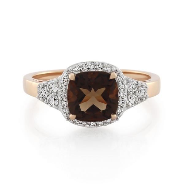 9CT Rose Gold 0.25ct Diamond & Smoky Quartz Ladies Ring - Monty Adams