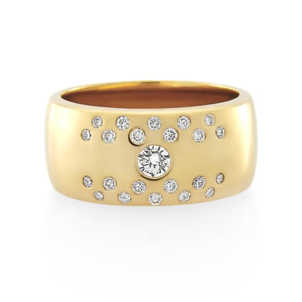 18CT Yellow Gold 0.45ct Diamond Ladies Ring Width 10 mm. - Monty Adams