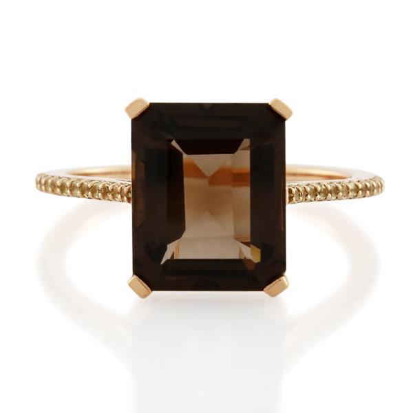 9CT Rose Gold Peridot & Smoky Quartz Ladies Ring - Monty Adams
