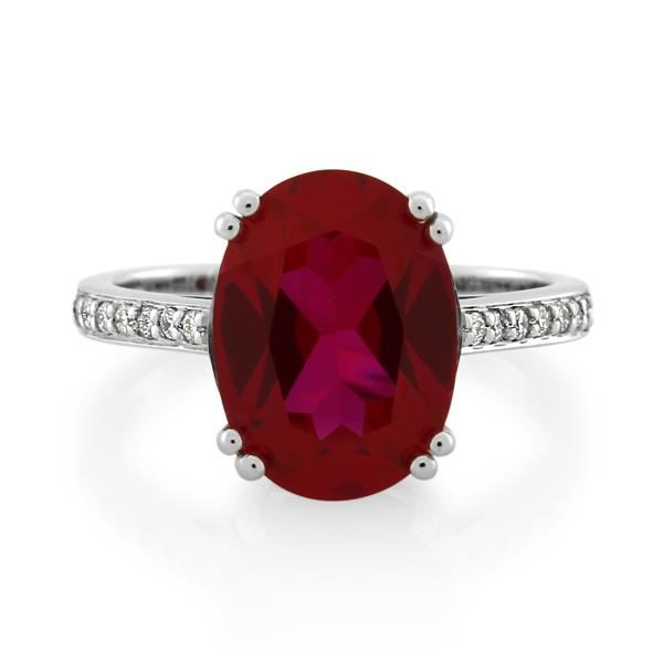 9CT White Gold 0.11ct Diamond & Created Ruby Ladies Ring - Monty Adams