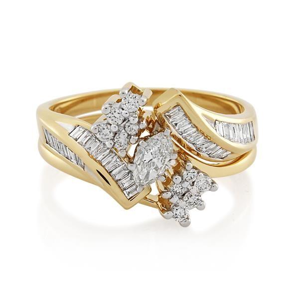 14CT Yellow/White Gold 1.06ct Diamond Ladies Ring - Monty Adams