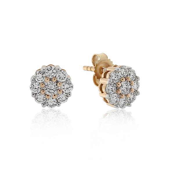 18CT Rose Gold 0.70ct Diamond & Pink Diamond Earrings - Monty Adams