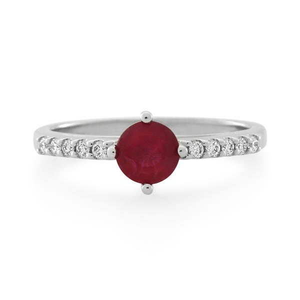 18CT White Gold Diamond & Ruby Ladies Ring - Monty Adams