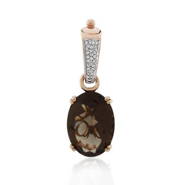 9CT Rose Gold Diamond & Smoky Quartz Pendant - Monty Adams