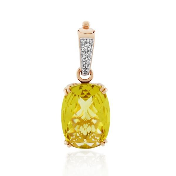 9CT Rose Gold Diamond & Lemon Quartz Pendant - Monty Adams