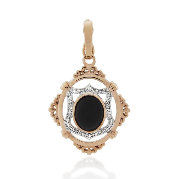 9CT Rose Gold Diamond & Onyx Pendant - Monty Adams