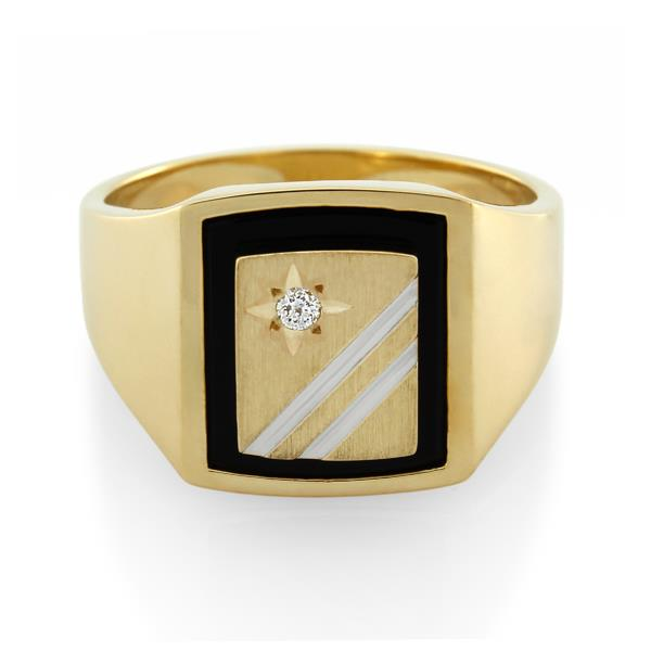9CT Yellow Gold Diamond & Onyx Gents Ring - Monty Adams
