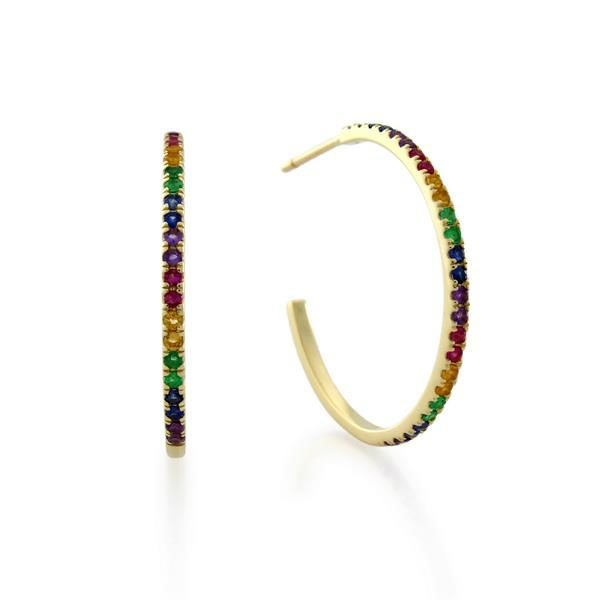 Yellow gold multi-colored gemstone earrings in hoop
