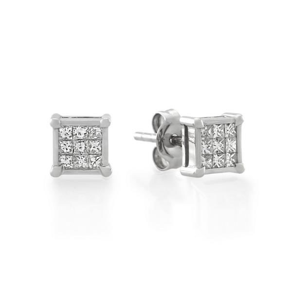 9CT White Gold 0.27ct Diamond Earrings - Monty Adams