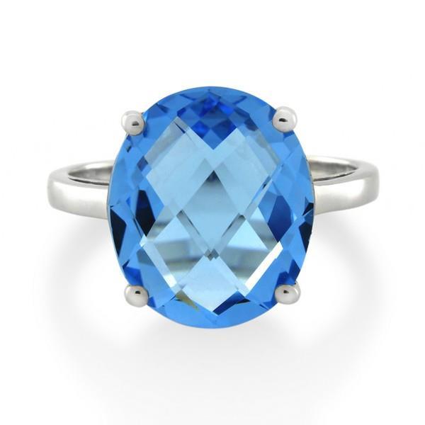 9CT White Gold Blue Topaz Ladies Ring - Monty Adams