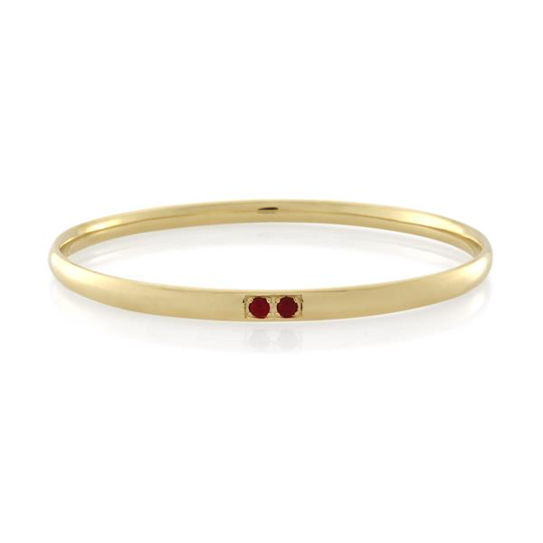 9CT Yellow Gold Ruby Bangle Inside Diameter 70 mm. - Monty Adams