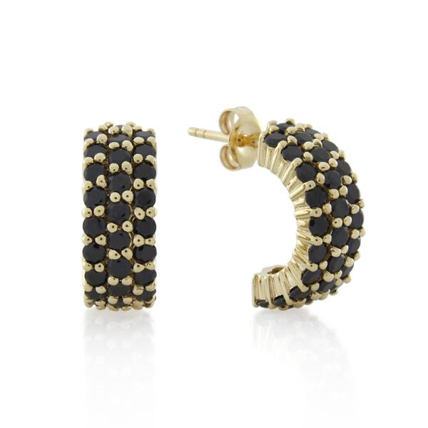 9CT Yellow Gold Black Cubic Zirconia Earrings - Monty Adams