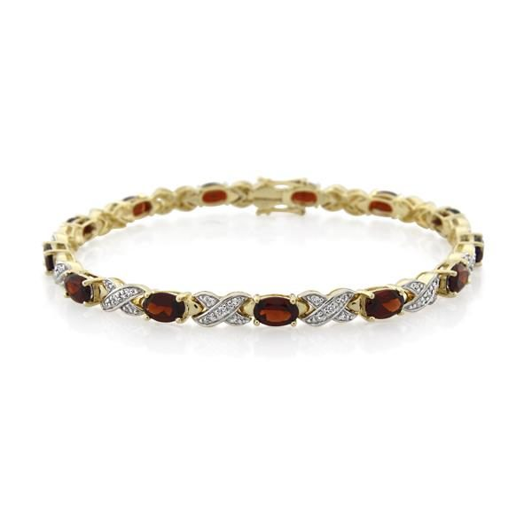 9CT Yellow Gold 0.35ct Diamond & Garnet Bracelet 19 cm. - Monty Adams