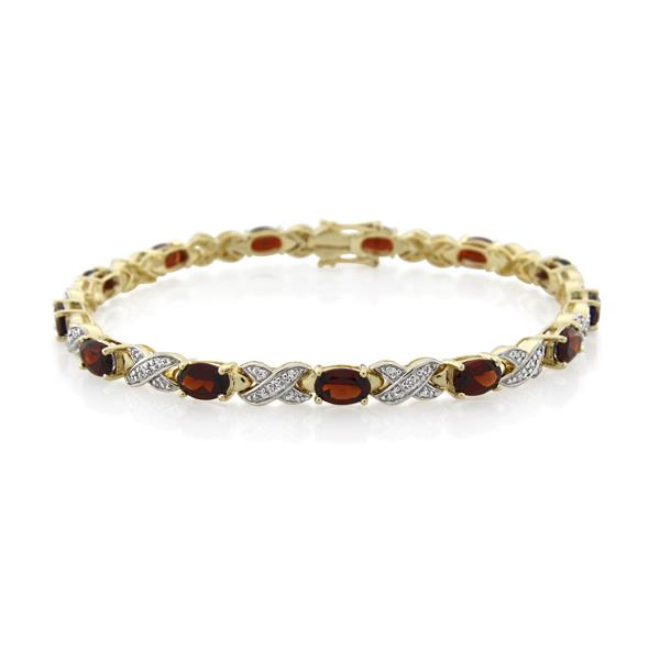 9CT Yellow Gold 0.35ct Diamond & Garnet Bracelet 19 cm. - Monty Adams