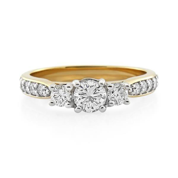18CT Yellow/White Gold 0.75ct Diamond Ladies Ring - Monty Adams