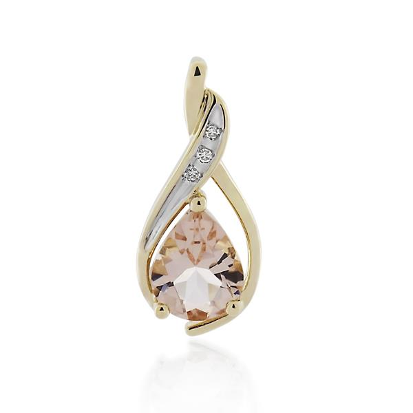 9CT Yellow Gold Diamond & Morganite Pendant - Monty Adams