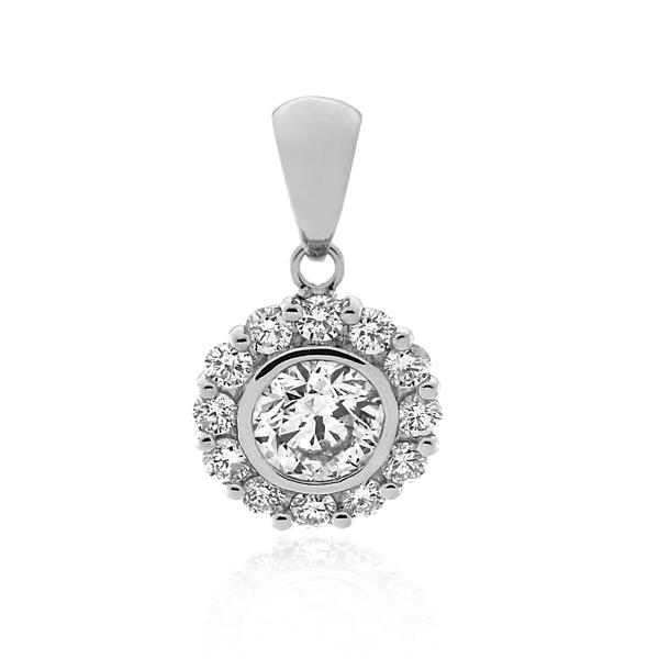 18CT White Gold 1.00ct Diamond Pendant - Monty Adams