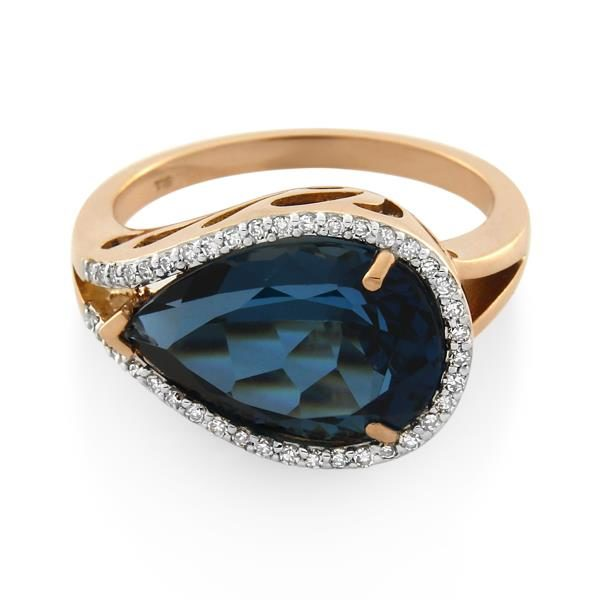 9CT Rose Gold 0.20ct Diamond & London Blue Topaz Ladies Ring - Monty Adams