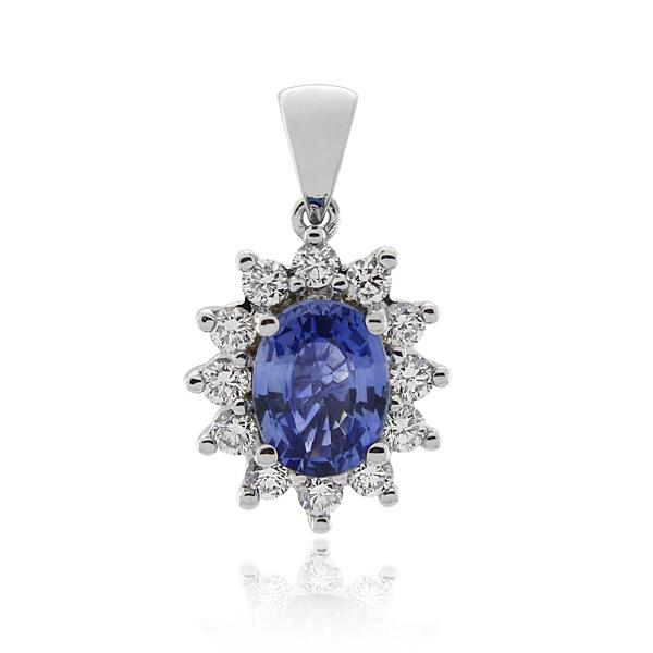 18CT White Gold 0.48ct Diamond & Ceylon Sapphire Pendant - Monty Adams