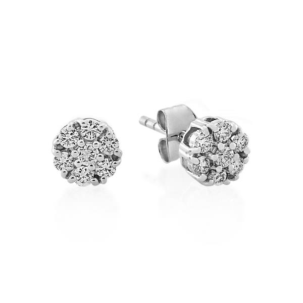 Melee diamonds stud earrings in a white gold plate