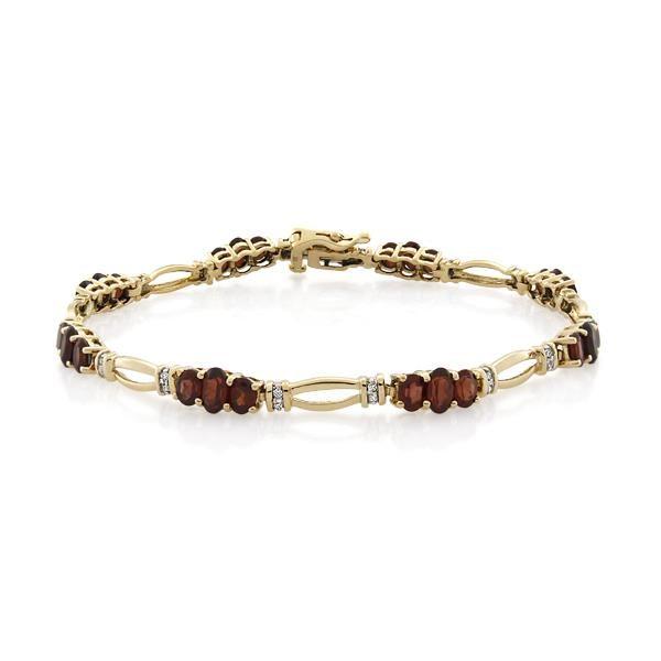 9CT Yellow Gold 0.16ct Diamond & Garnet Bracelet - Monty Adams