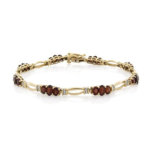 9CT Yellow Gold 0.16ct Diamond & Garnet Bracelet - Monty Adams