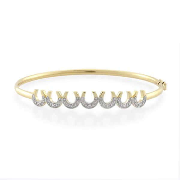 9CT Yellow Gold Diamond Bangle - Monty Adams