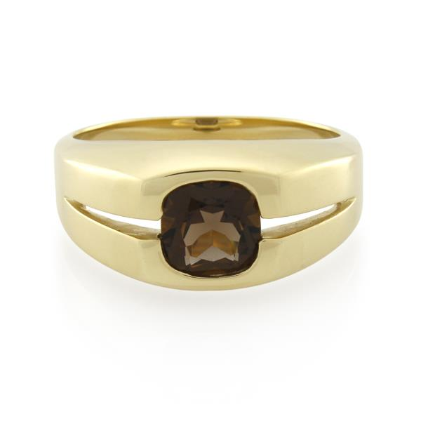 9CT Yellow Gold Smoky Quartz Gents Ring - Monty Adams
