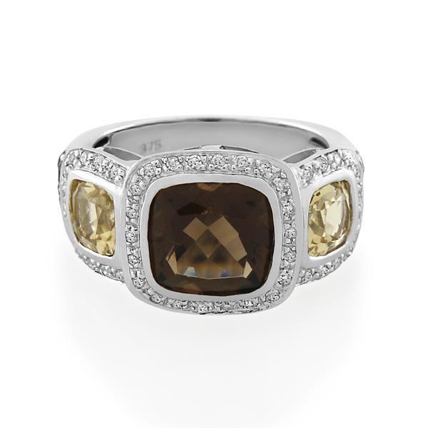 9CT White Gold 0.23ct Diamond & Champagne Quartz & Smoky Quartz Ladies Ring - Monty Adams