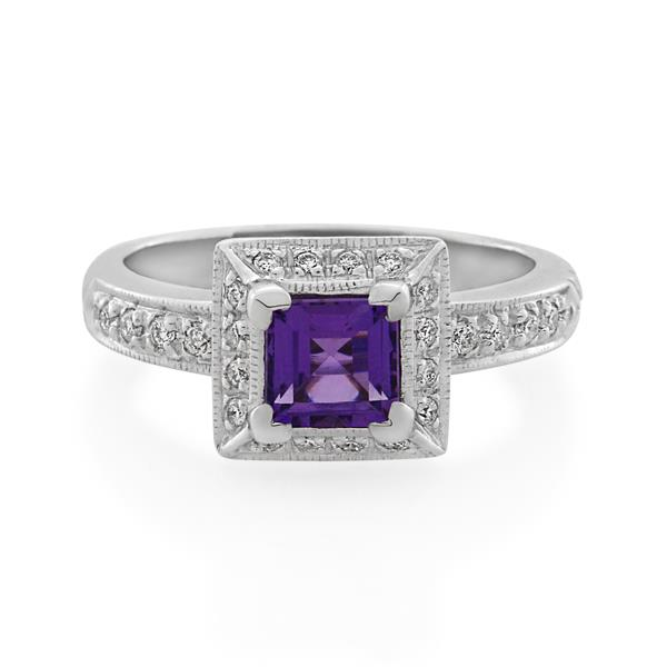 9CT White Gold 0.18ct Diamond & Amethyst Ladies Ring - Monty Adams