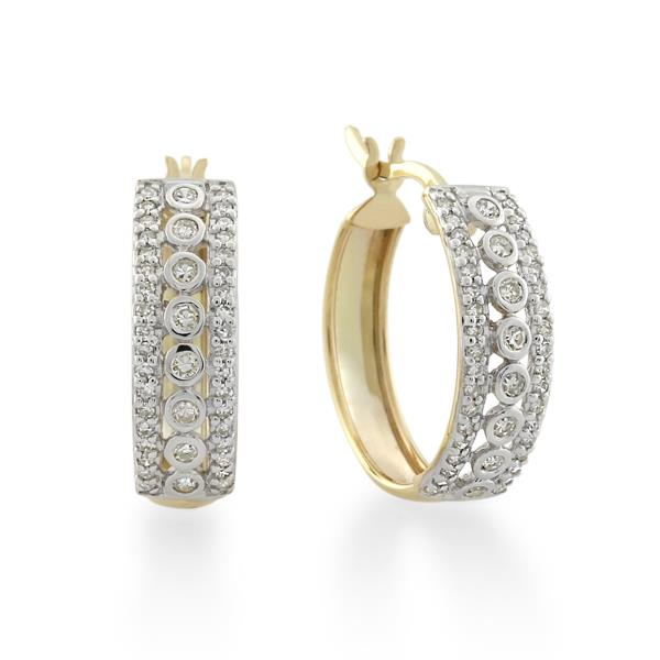 9CT Yellow Gold 0.40ct Diamond Earrings Inner diameter 15mm - Monty Adams