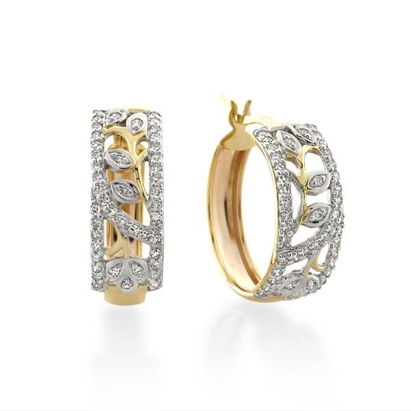 9CT Yellow Gold 0.30ct Diamond Earrings Inner diameter 15mm - Monty Adams