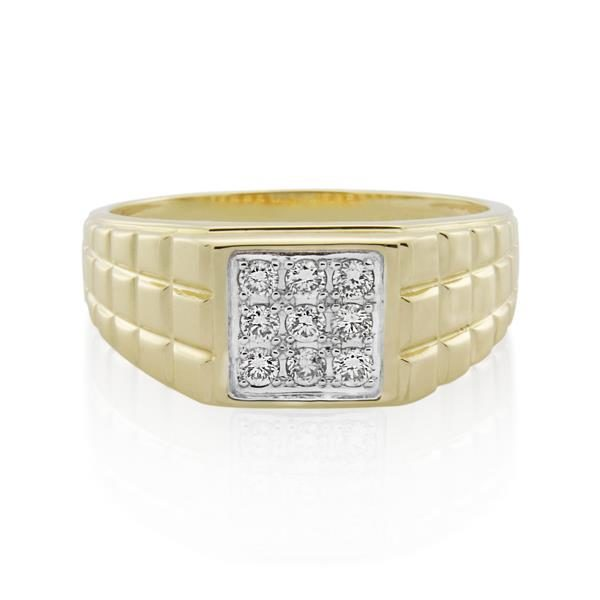 9CT Yellow Gold 0.32ct Diamond Gents Ring - Monty Adams