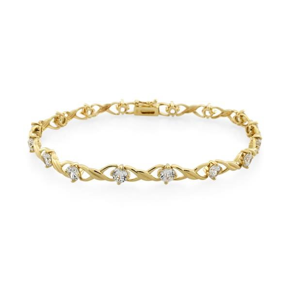 9CT Yellow Gold White Cubic Zirconia Bracelet Total length 19cm - Monty Adams