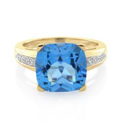 9CT Yellow Gold Diamond & Blue Topaz Ladies Ring - Monty Adams