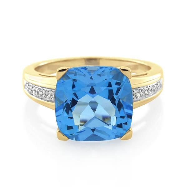 9CT Yellow Gold Diamond & Blue Topaz Ladies Ring - Monty Adams