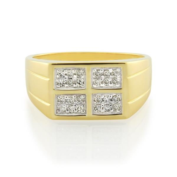 9CT Yellow Gold 0.19ct Diamond Gents Ring - Monty Adams